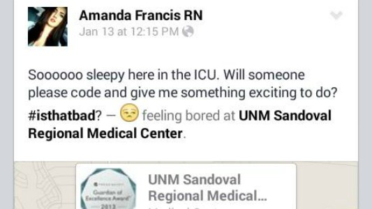 UNM Sandoval Nurse Fired over Offensive Social Media Posts
